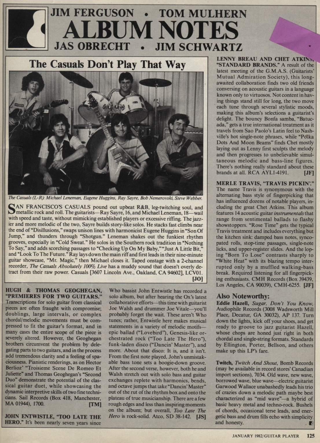 Guitar Player Magazine Review, The Casuals Album