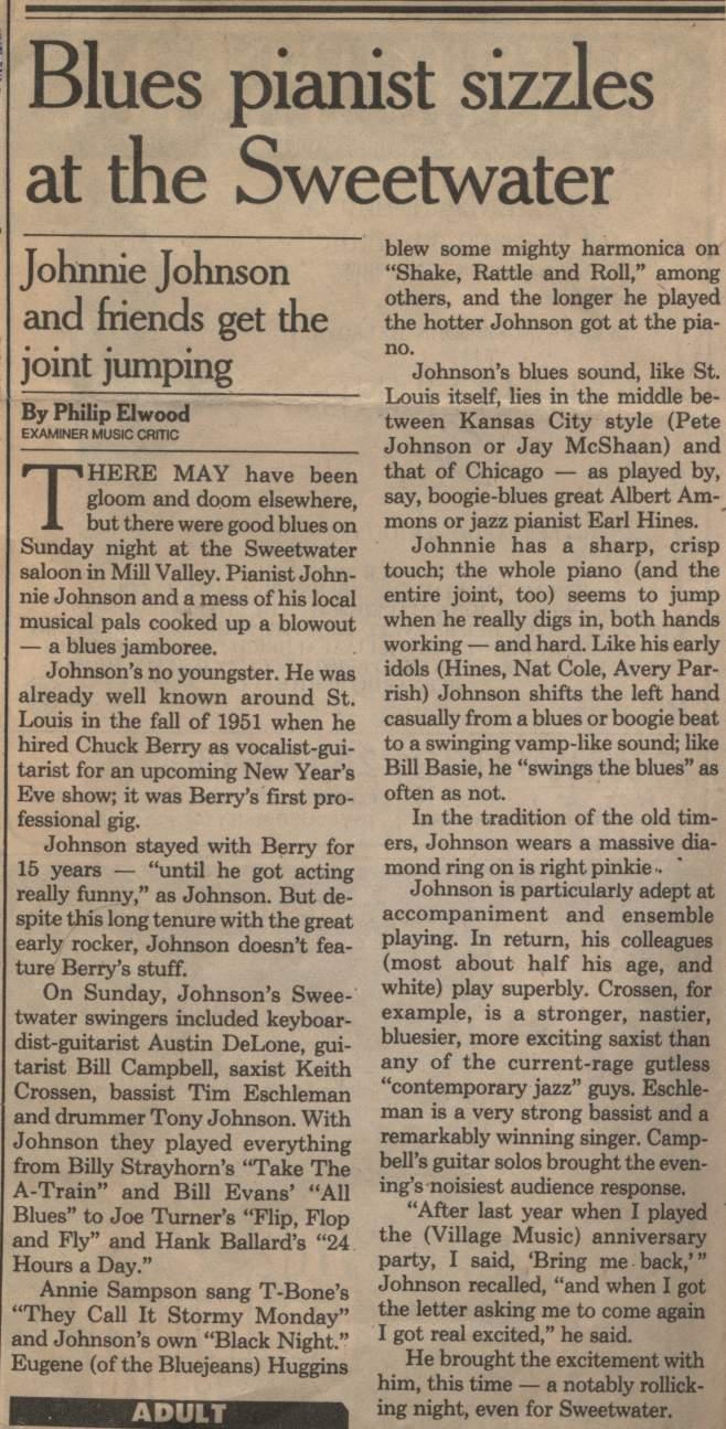 Johhny Johnson Review in the Examiner
