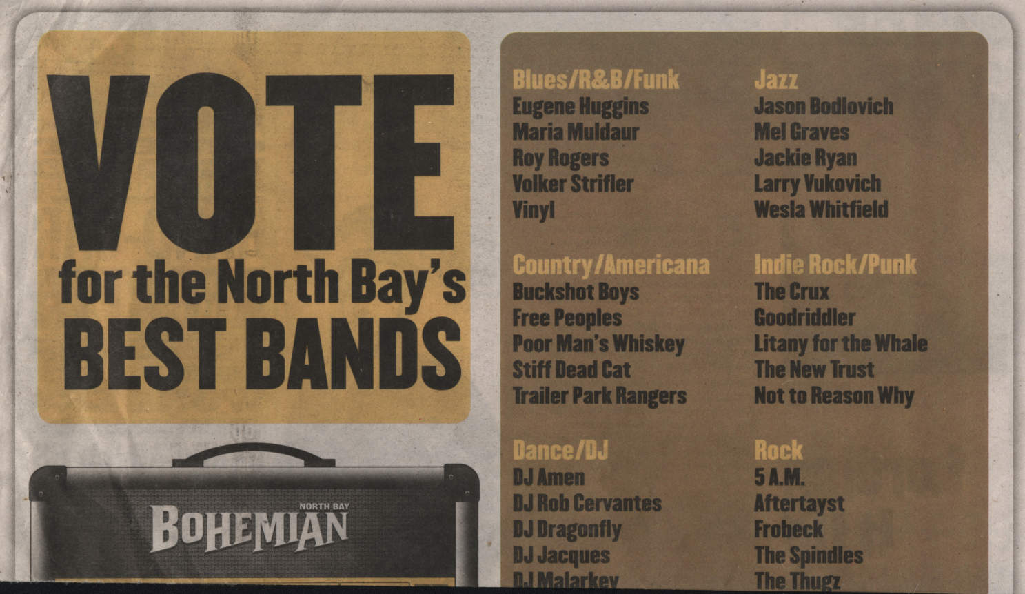 Vote for the North Bay's Best Bands
