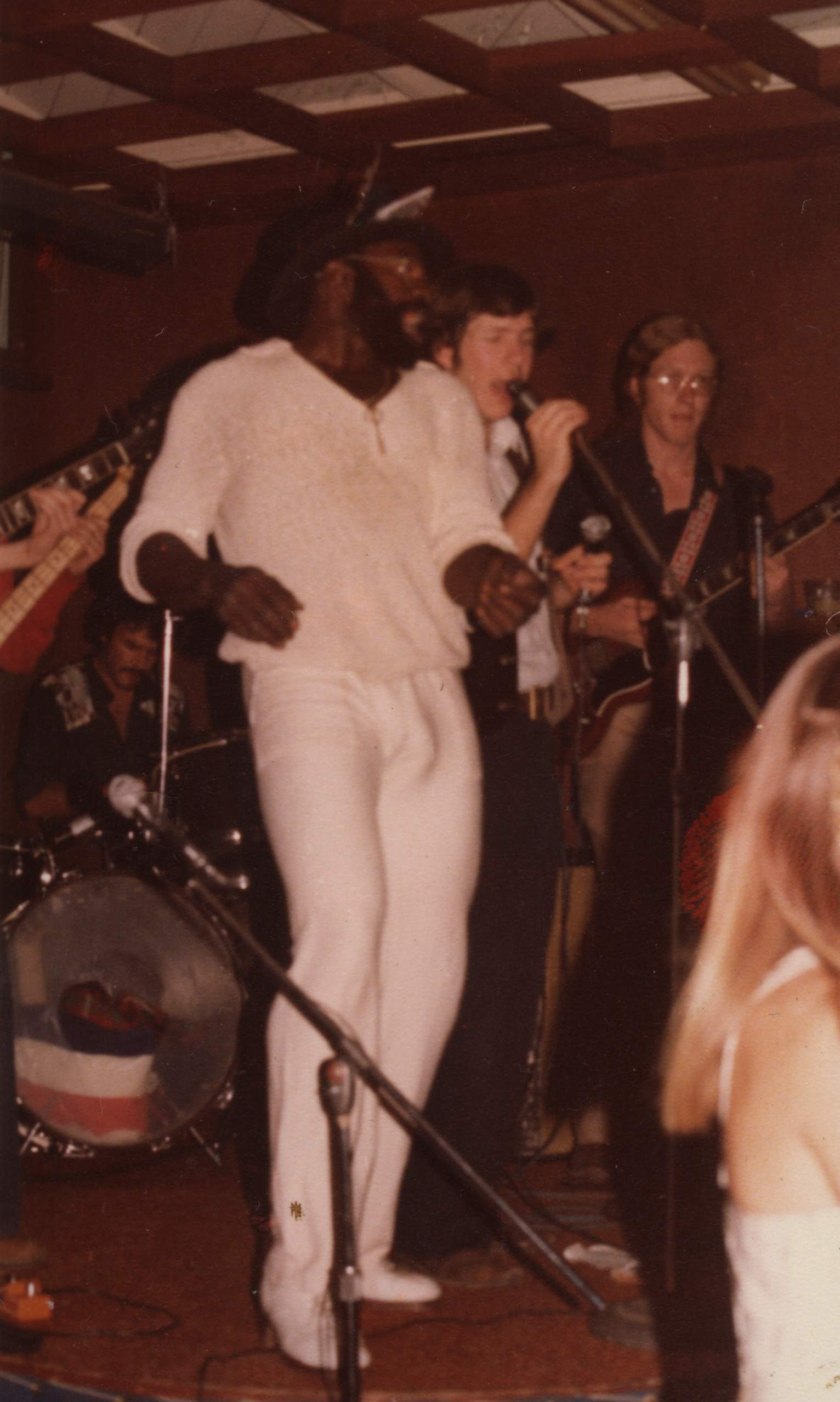 Bo Connelly with Mitch Faber and John Trombitas at the Sausalito Crusing Club, 1977