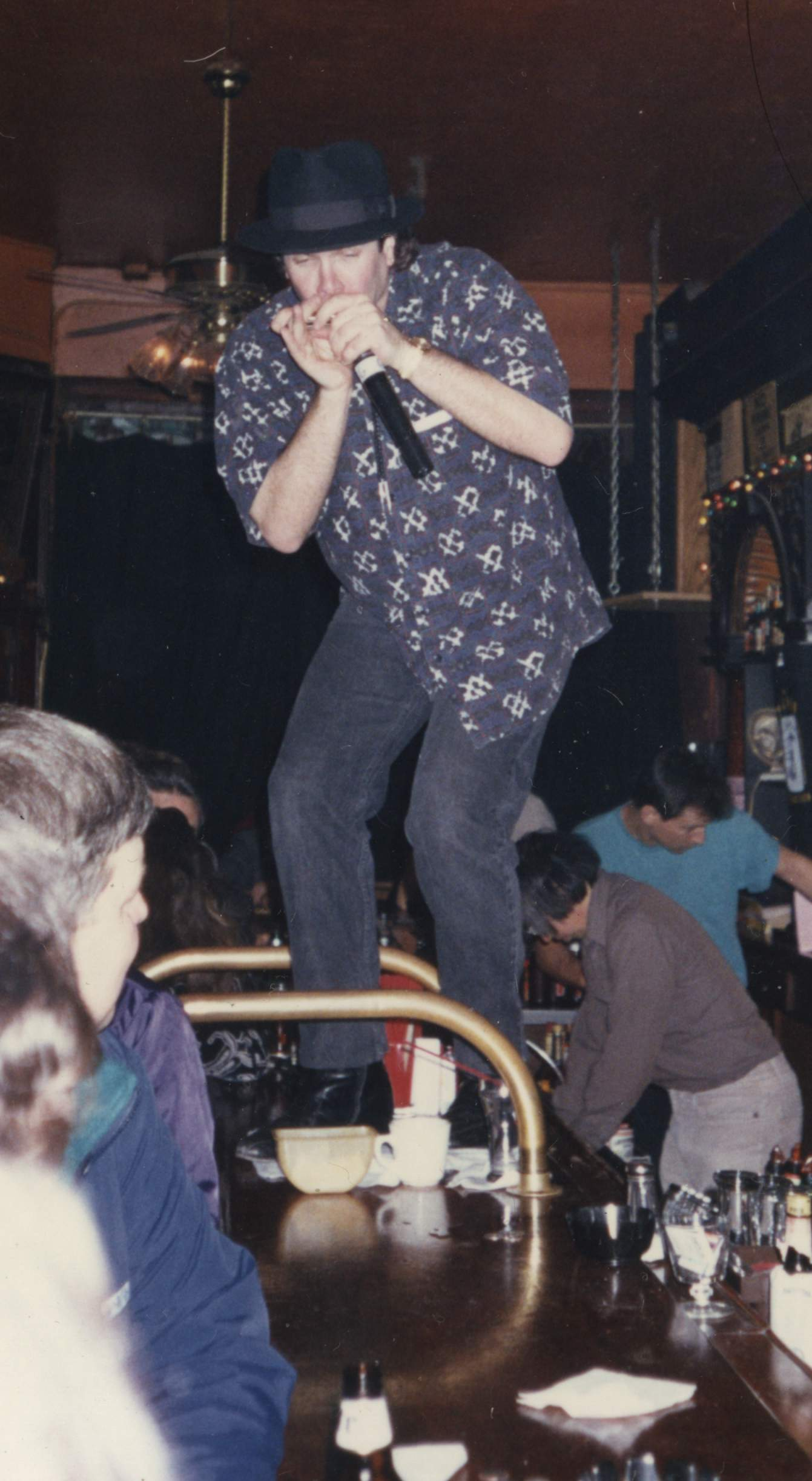 Eugene, Rockin' on the Bar at The Saloon in Northbeach, San Francisco, California with Myron Mu, Proprietor, tending bar